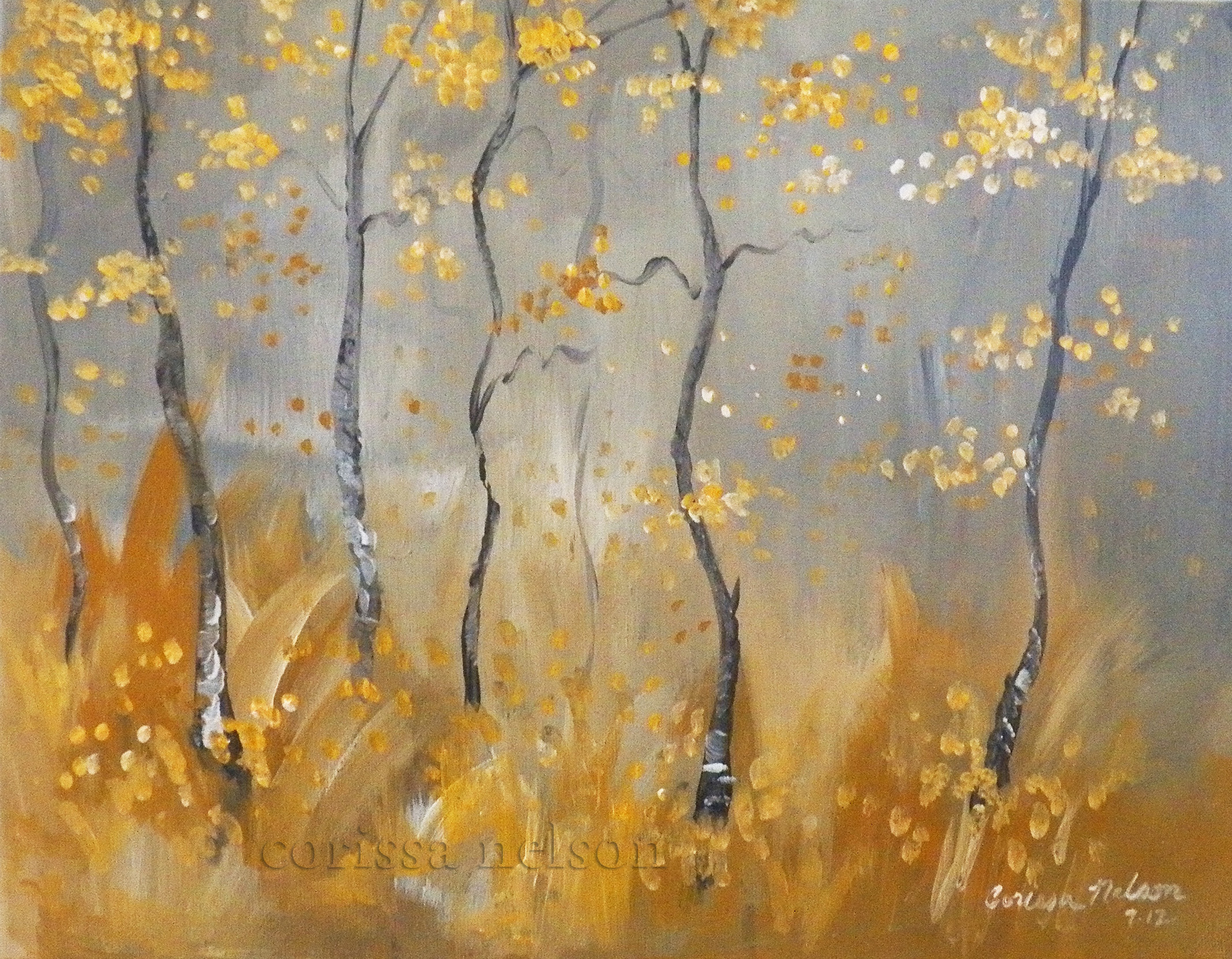 Autumn Grey and Yellow Woods