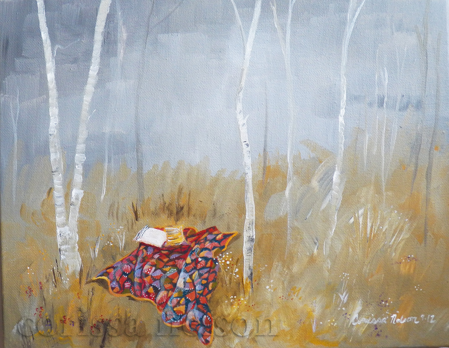 Camping Among the Birch Trees with a Crazy Quilt