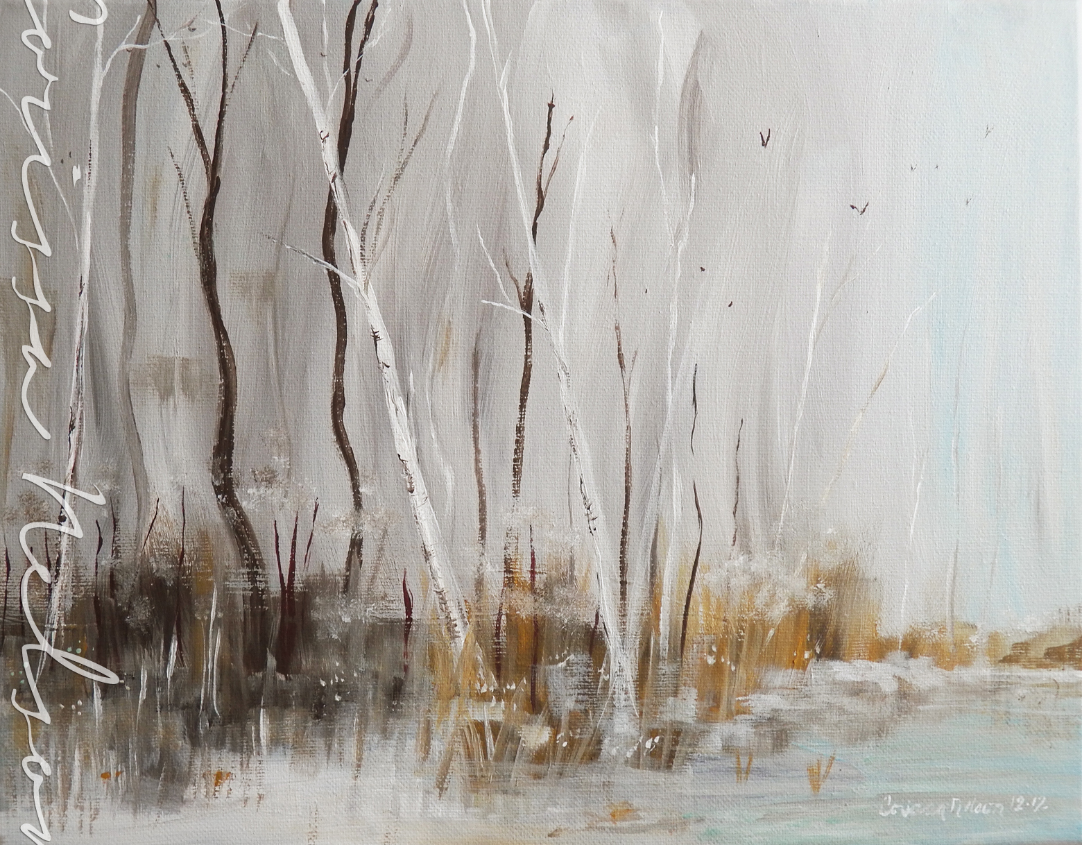 Winter Birch and Ash Landscape Painting