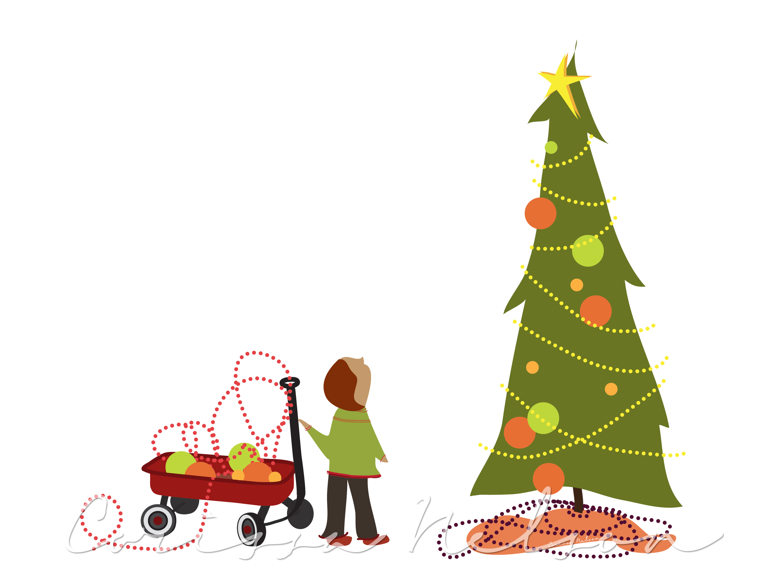 Little Boy and His Red Wagon at Christmas