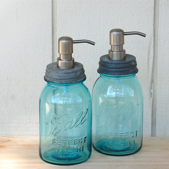 Set of 2 - Blue QUART Ball Perfect Mason Jar Soap Pump Dispensers
