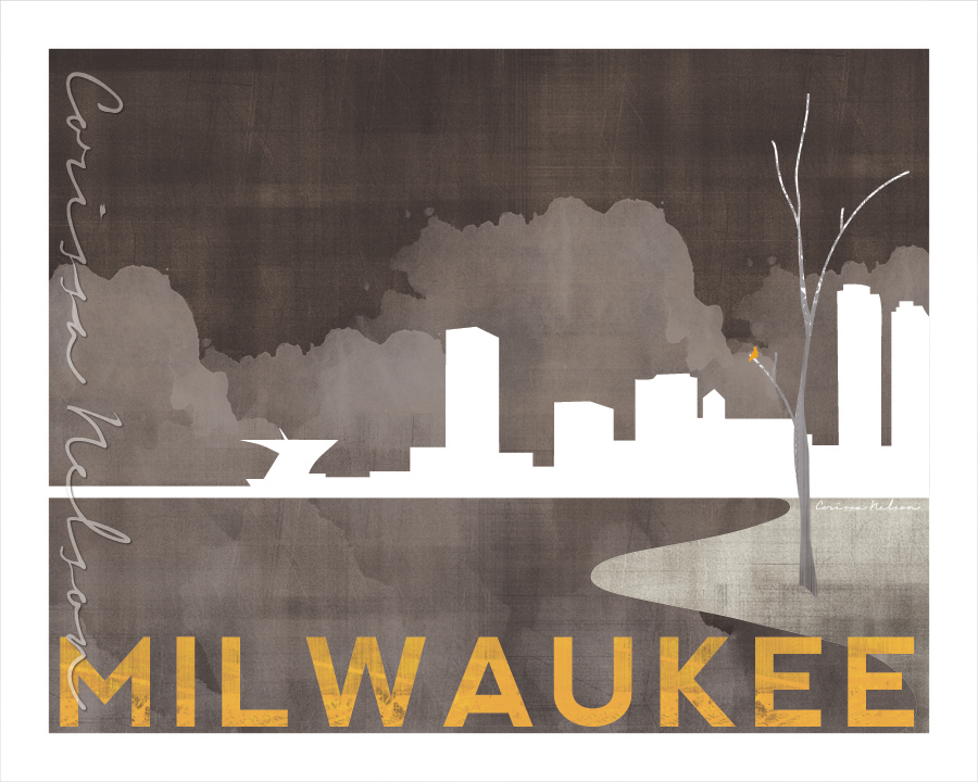 One recent customer ordered a poster-sized canvas of this Milwaukee skyline artwork using a printable file.