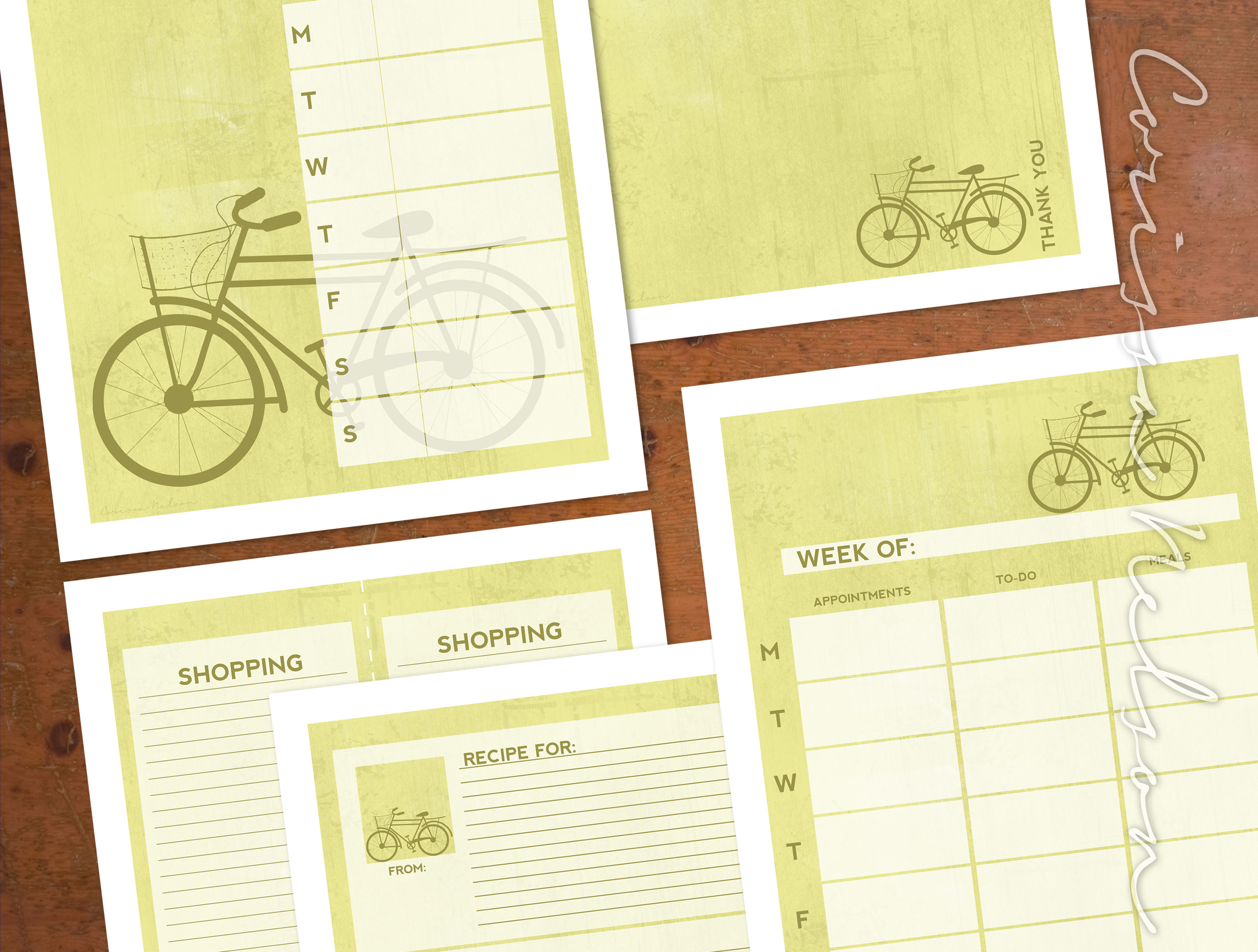 Olive Bike Planner Pack from Corissa Nelson Art on Etsy