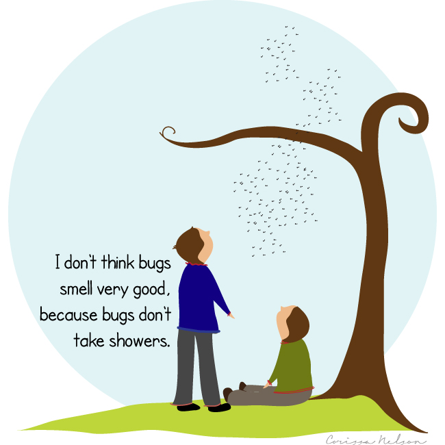 bugs smell because they don't shower illustration of boys, tree, sky, bugs, and kids