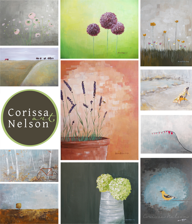 original art paintings by Corissa Nelson flowers, farms, hydrangeas, bicycle, yellow finch, gold finch, songbird, bleeding hearts, quilt, ranunculus painting