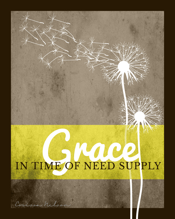 Chief of Sinners Though I Be, Christian Art, Free printable, Grace, time of need, dandelions, yellow and gray