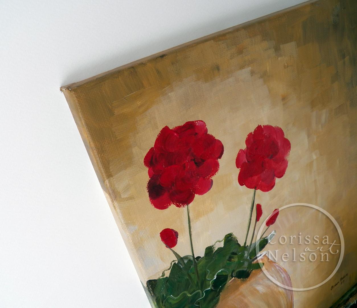 Geraniums in a Clay Pot, acrylic painting, original artwork, garden art, flower paintings