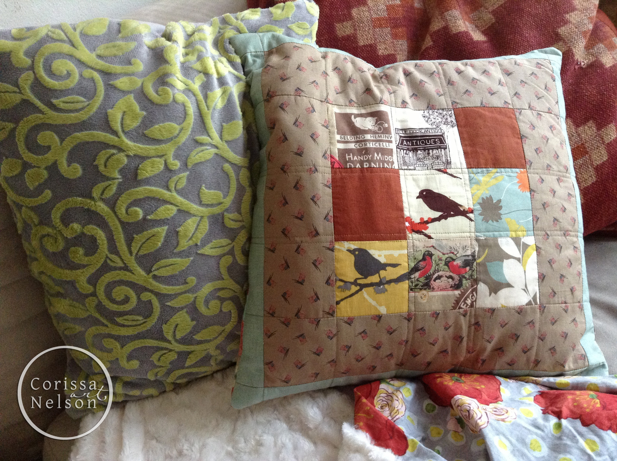 Nine patch quilted pillow