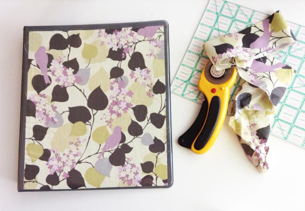 Quick binder update with fabric scraps