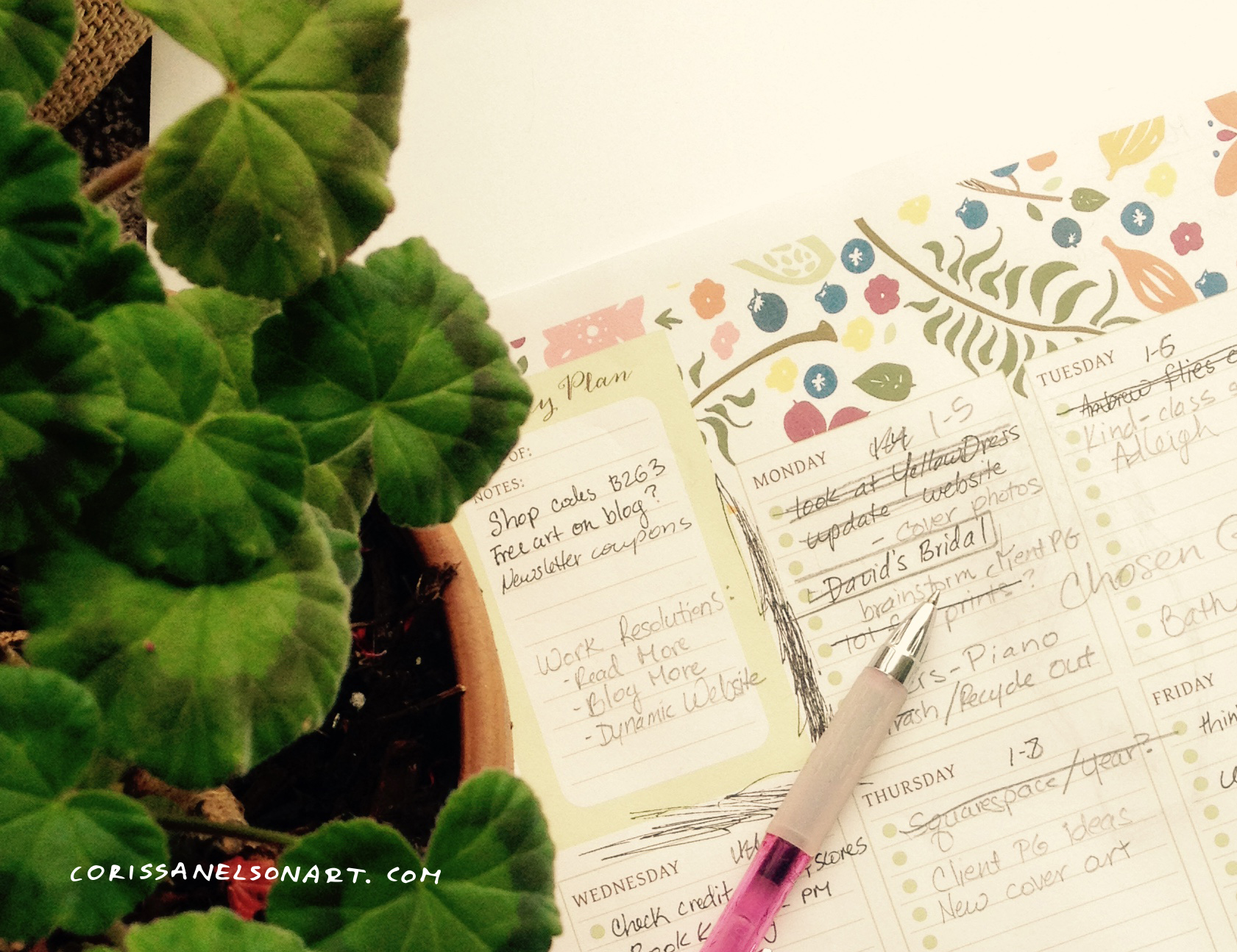 Berries Ferns Flowers Weekly Planner
