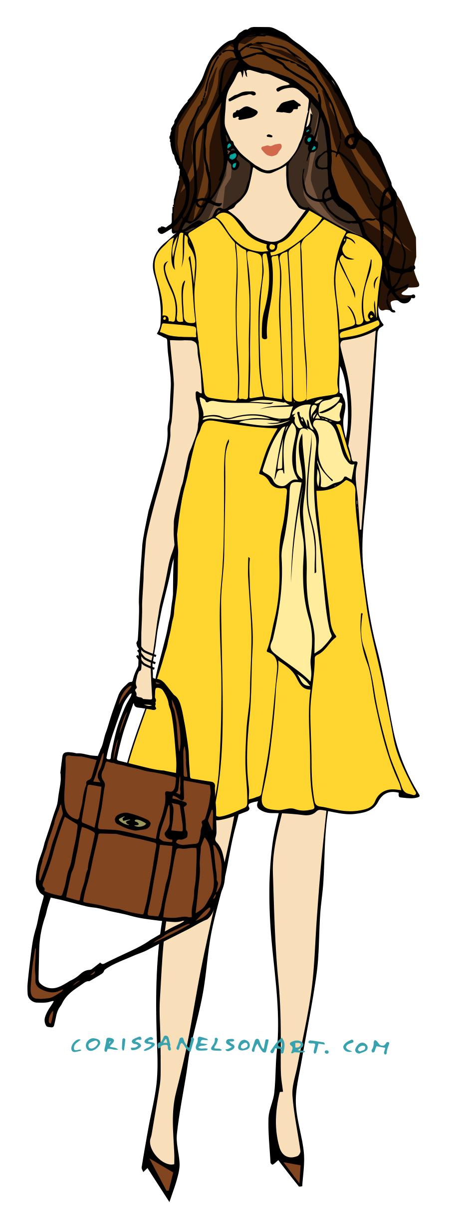 yellow dress girl