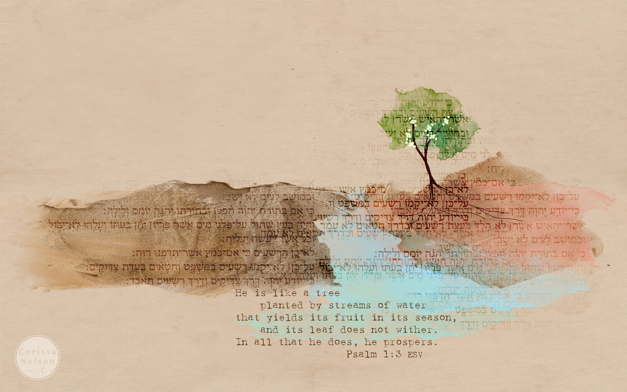 Psalm 1 Computer Desktop Art - Click to Download