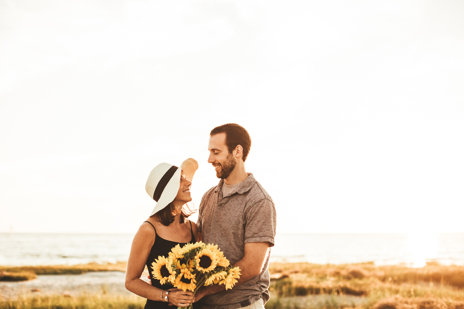 Sunflowers Engagement Session - Cape Cod Photographer