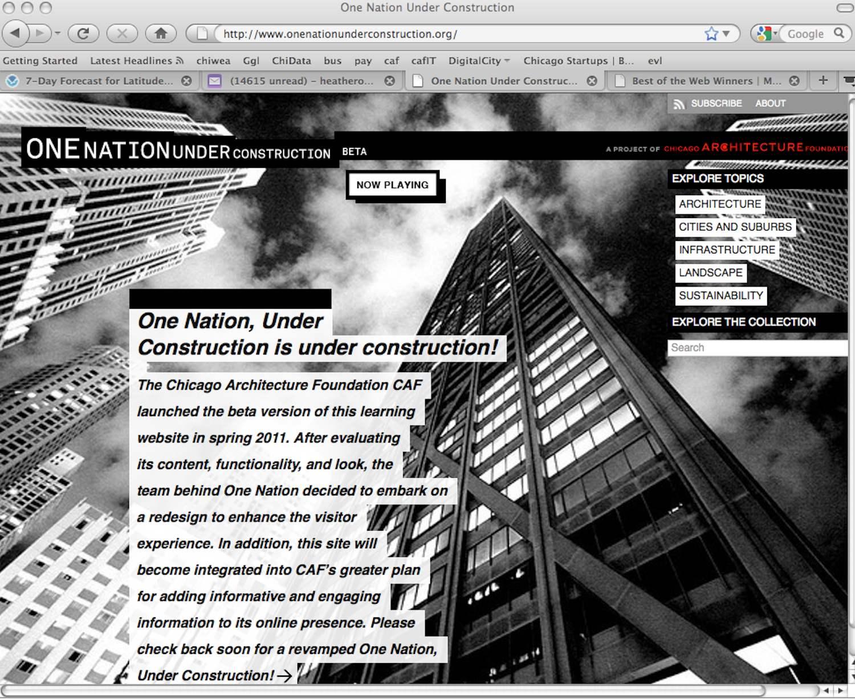 ONE NATION UNDER CONSTRUCTION  (WEBSITE), 2011
