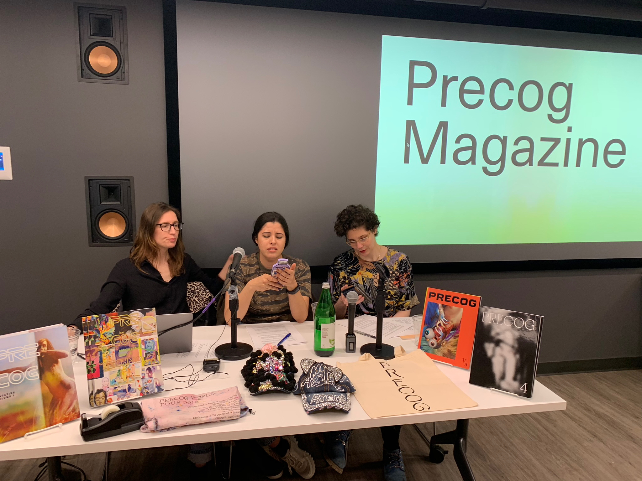 Pre Cog Mag in the Library - Photo from a panel featuring the women of Pre Cog Magazine on how to make your own magazine at the SVA Library.