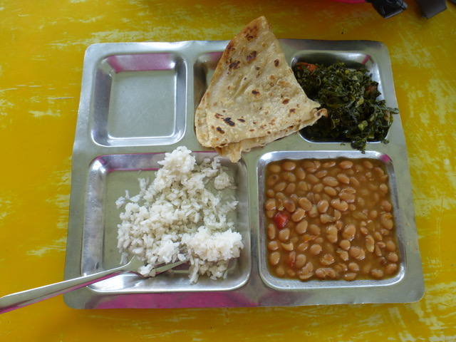 Our yummy and very typical lunch prepared and served at the CURE Hospital by their wonderful kitchen staff.