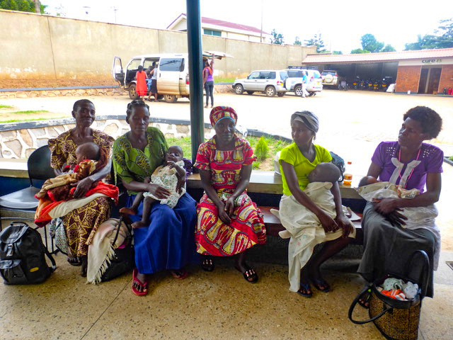 The mamas and babies waiting in the outpatient clinic for admission to the hospital.
