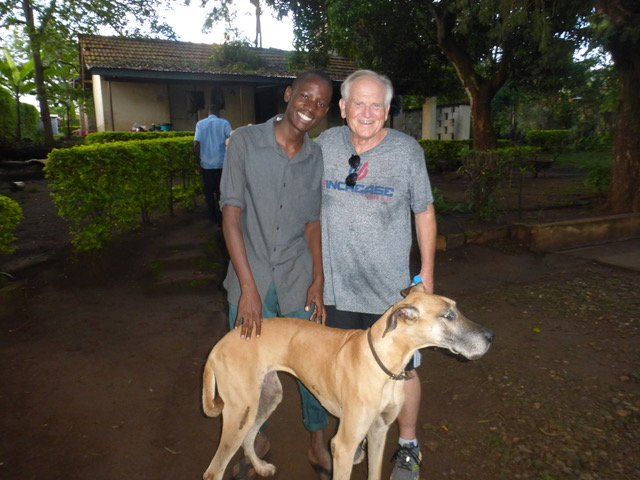 """We did manage a walk after the all-day JENGA conference and were thrilled to pop in on Faruk and his dad John, who both live at the compound which formerly housed Derek and Julie. """"Lemon"""", the Johnsons' Great Dane, also seemed happy to see us."""