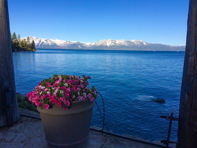 Lake Tahoe was strikingly beautiful, as the record-setting winter of snowfall continues to provide gorgeous vistas as well as spring/summer skiing.