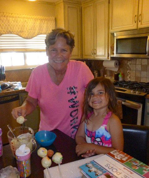 """Gigi and Ana made cake pops…very successfully, I might add, thanks to the great """"Cake Pops"""" book we got at a yard sale."""