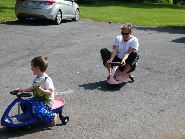 """Nathan and Gigi raced on the """"plasma cars"""", and you can clearly see who won."""
