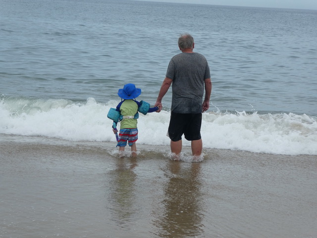 Nathan feeling very secure holding Papa's hand as they study the sea.