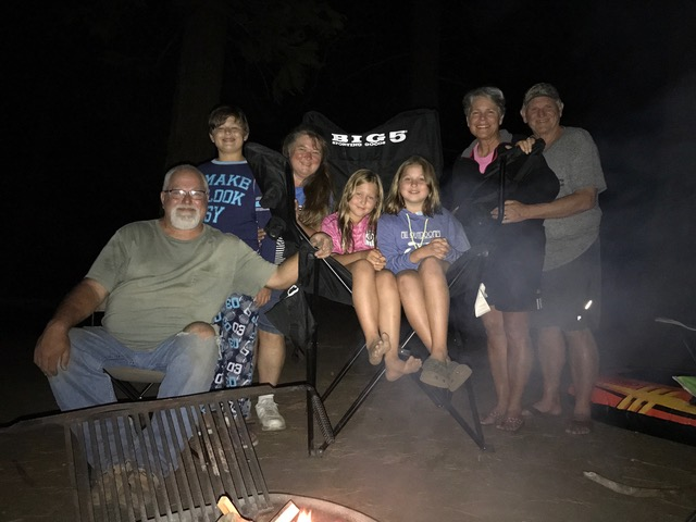 S'mores around the fire with Eric and Stephanie Lingren, and Katie, Gracie, and Matthew.