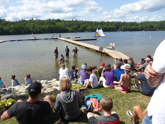 Baptism in the lake for several provided a very meaningful gathering for the community.