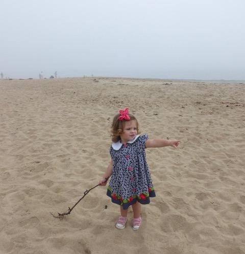 Rachel enjoying Singing Beach in her Sunday finest.