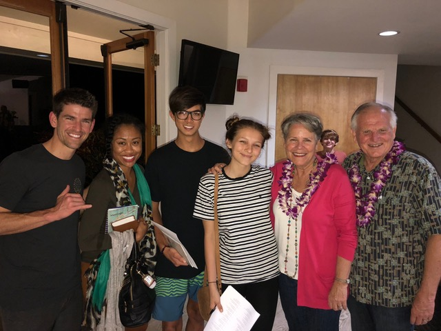 """A few """"stragglers"""" at the end of Friday night's teaching at the Kalaheo Missionary Church."""