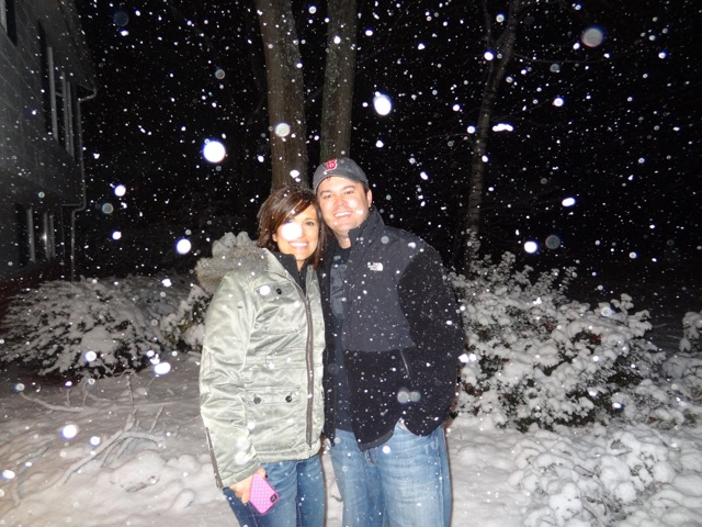 New England made Danny and Rayna Oertli feel right at home with a small snowstorm to herald their arrival.