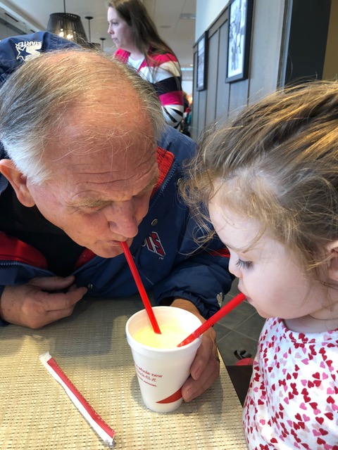 "Nothing like sharing a Chick-Fil-A ""Sunrise Shake"" with Papa."