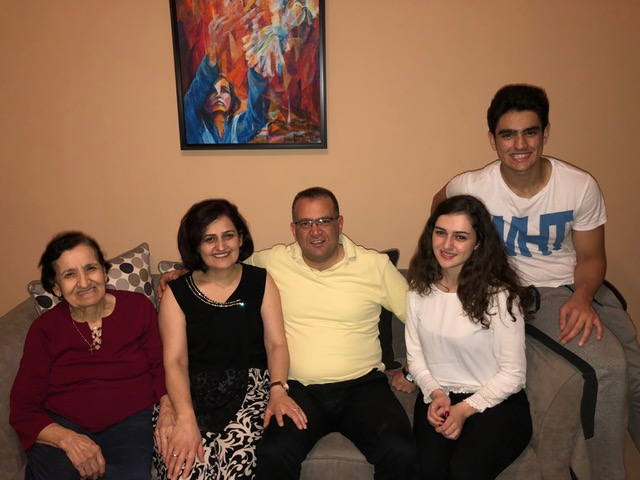 "The Messerlian family: ""Mommy"", Kayane, Raffi, Nayiri, and Hovsep. ""Chosen family."""
