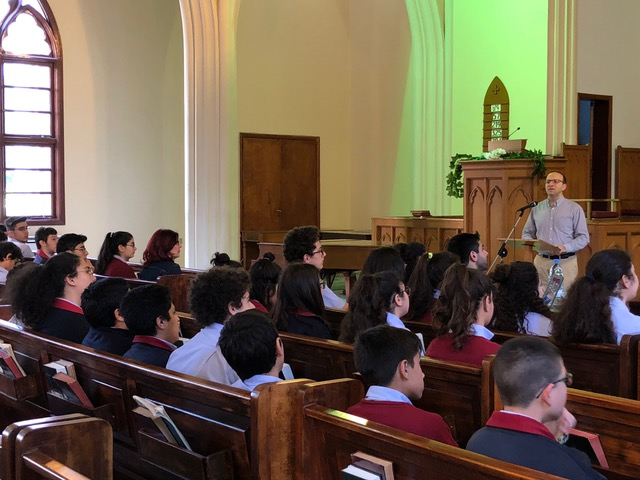 We did an early morning chapel at Badveli Hrayr Cholakian's school . . .