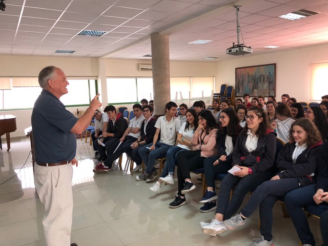 Paul is speaking to all of juniors and seniors of all four Evangelical Armenian Schools in Beirut who came together at Central HS.