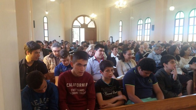 The Anjar church was full with the two congregations merging.