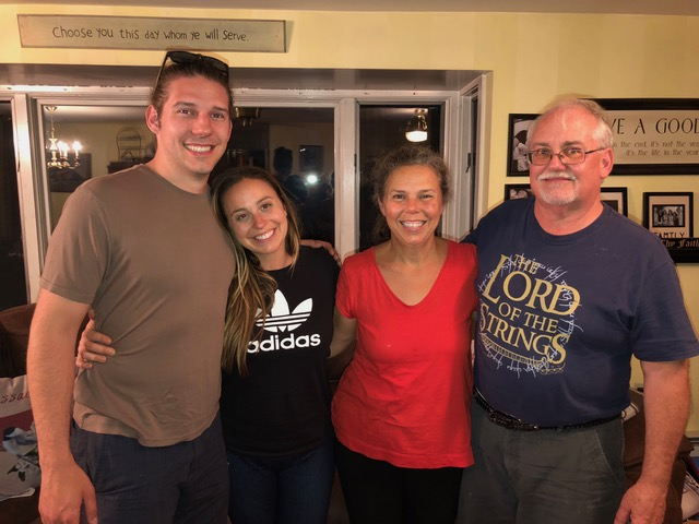 My cousin Frank Phillips (far right) and his wife Annette came to town to visit their son Jamie and his wife Brittany and we spent a lovely evening together over dinner.