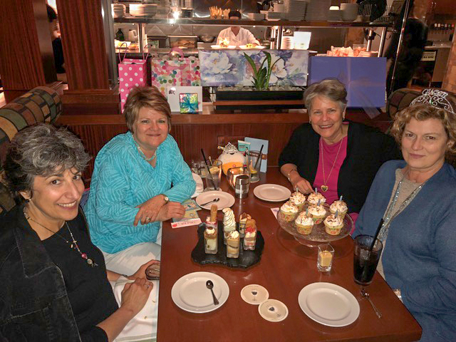 """Celebrating my dear friend Patty's 60th with a couple of other dear friends. """"Mom to Mom"""" brought us together in 1995 and we've been fast friends ever since."""