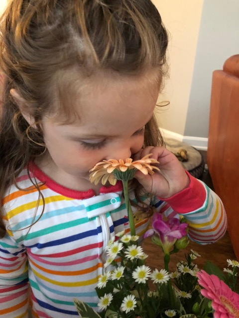 But receiving flowers from her Great Auntie Laura perked her right up.