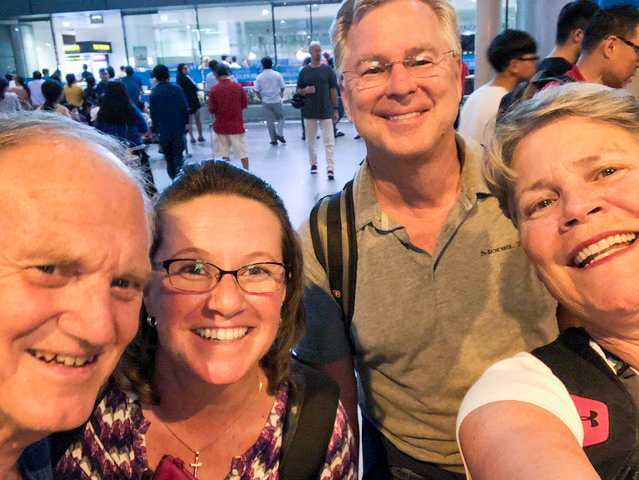 Meeting up in the Ho Chi Minh City Airport . . . another adventure with the Macraes