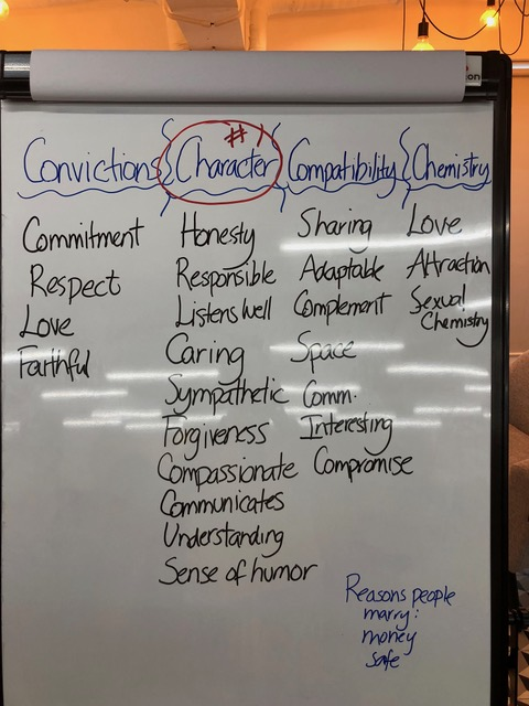 The list of qualities suggested by the audience.