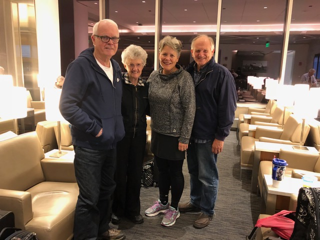 Serendipitous meeting with Gordon and Gail MacDonald in the United lounge at Logan Airport at 5:30 am.