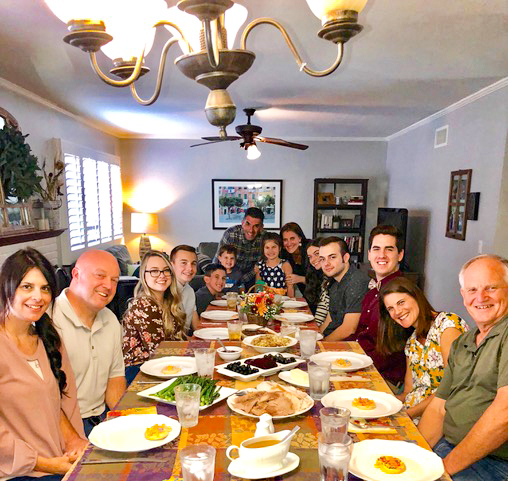 Thanksgiving dinner with the Garcias, Eidems, and Friesens.