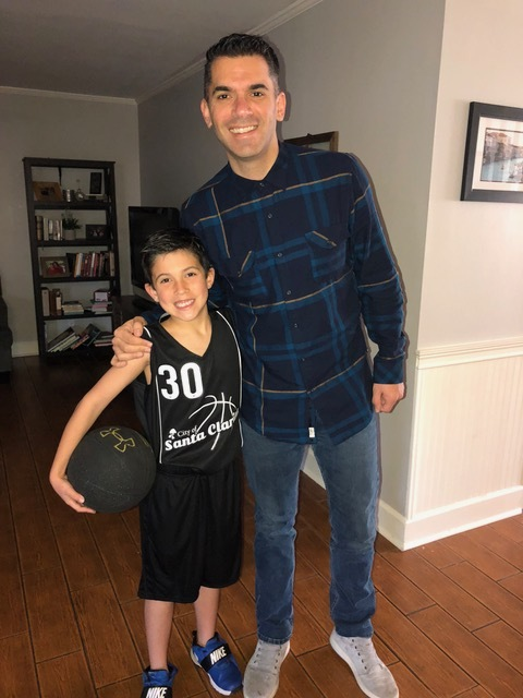 The Coach and his son are ready for Saturday morning basketball.
