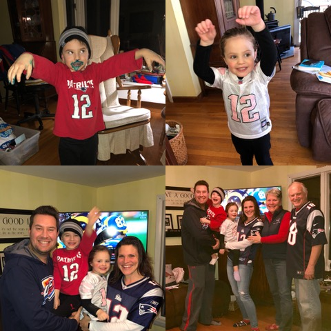 """It was all smiles at our home in Bedford as the game """"went our way."""" What fun it was to have the Johnsons in our rooting section!!"""