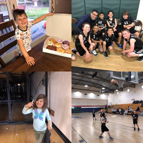 Basketball fun . . . but first, donuts for fuel! Ana discovered a few treasures under the bleachers when the game didn't hold her attention.