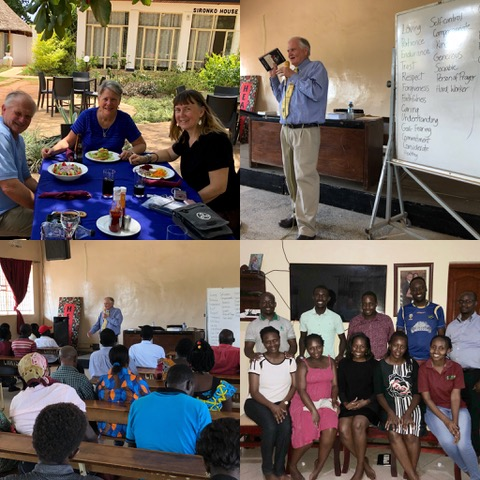 Top left photo, we're having lunch with Dr. Martha Wright, prior to speaking at LivingStone International University. The next two photos are during our Friday afternoon session with them, and the last photo is of our evening with a small group of couples.