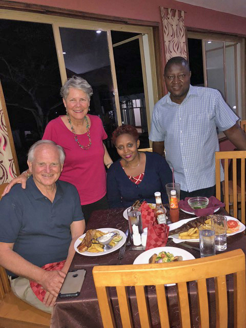 Dinner together with Moses and Rita-Rose Kitunge was lovely.
