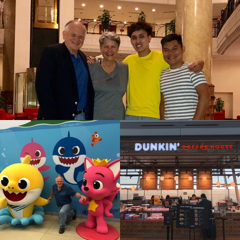 Our flight took us from Boston to Toronto to Seoul, Korea, where the familiar DUNKIN' signs greeted us. On to Hanoi, where we were met by Sonny and Christy's assistants, Carmen and Troy. They got us checked in to the Hanoi Hilton.
