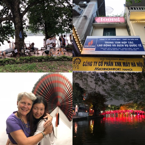 "A few more glimpses of life in Hanoi. The upper right photo is of the ""shared workspace"" in which we met for counseling. The bottom left is me with my new friend Hanh and the last photo is Hanoi at night. Lots of lights!"